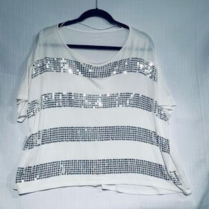 White Boxy Tee with Silver Sequins Large by INC